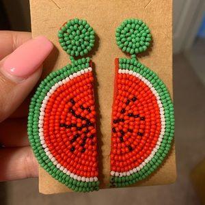 Jewelry - Handmade beaded watermelon boutique earrings